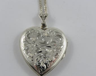 Sterling Silver Heart Shaped  Locket With An Etched Design