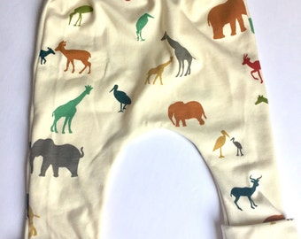 Organic Baby harem pants, toddler harem pants, baby pants, boy or girl harem pants