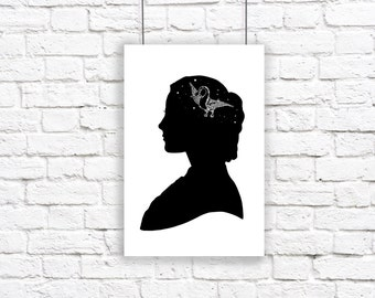 Stars Constellation Silhouette Large Print Her Mind Is Full Of Stars Astronomy Night Sky Black and White