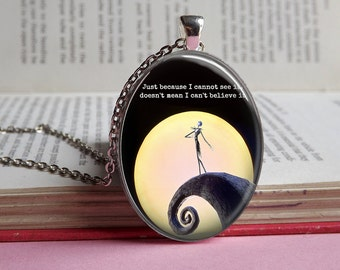 Silver or bronze The Nightmare Before Christmas glass dome pendant necklace (Jack Skellington, quote, moon, halloween, pumpkin king, TNBC)
