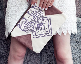 SALE 10 USD off Geometrical Illusion Printed  Leather Pouch  Lavender No. ZP-206