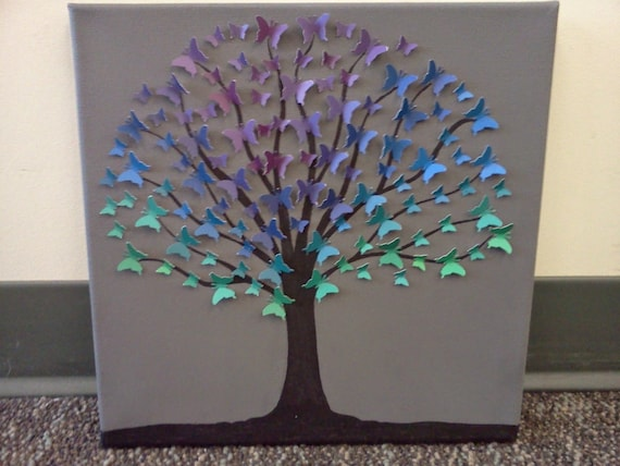 Unique Upcycled Butterfly Tree Wall Art Recycled Paper Tree