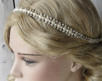 Wedding headband, bridal headpiece, pearl headband, bridal accessories