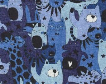 Japanese children fabric - Marine Animals Party - Sevenberry - cotton - funny jungle blue - Kawaii