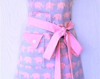 Cute Elephant Apron, Retro Apron, Womens Full Apron, Elephants, Coral, Polka Dots, KitschNStyle