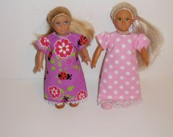 Handmade clothes. 2 Cute nightgowns for Mini American girl doll 6 1/2 inch