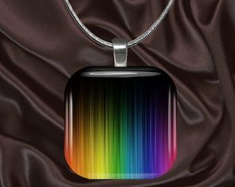 Rainbow Stripes Glass Tile Pendant with chain(CuRa4.6)
