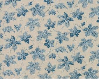 Moda Baltimore Blues Barbara Brackman Civil War Marble Blue Leaf Fabric 8341-14 BTY