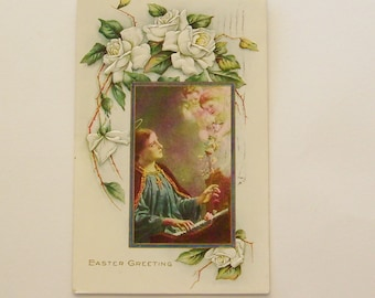 Antique Easter postcard Mary and angels floral with white roses flowers