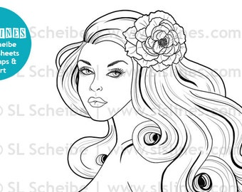 NUDE Digital stamp beautiful pinup girl style, naked lady with long flowing hair digistamp by SLS Lines