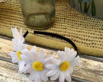 White Daisies Bridal, Country, Rustic Headband