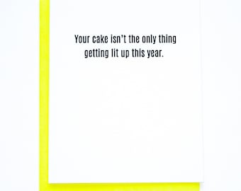 Funny Sarcastic. Cake Lit Up Birthday Letterpress Card