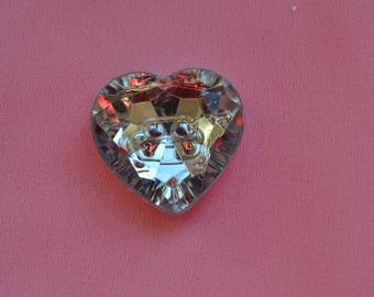 Heart Rhinestone button