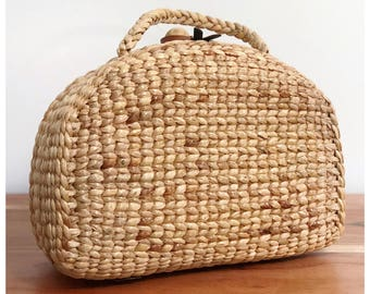 Handwoven straw bag, straw basket bag, straw bag purse, straw bag, picnic tote, market tote  (Picnic small)