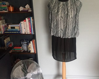 Vintage L.T.D by Roberta back and white monochrome sheer dress mini