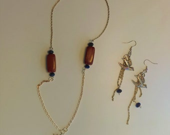 Blue Wood Sparrow Necklace and Earrings Set
