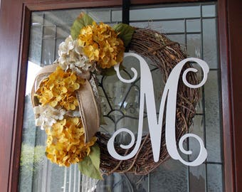 Fall Monogram Wreath-Fall Wreath-Fall Wreaths for Front Door-Fall Door Wreath-Fall Hydrangea Wreath-Couples Gift Wedding-Housewarming Gift