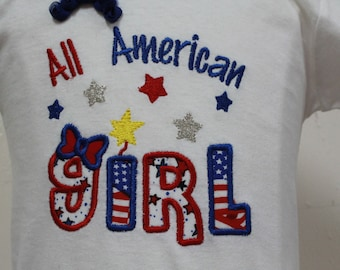 Independence Day, 4th of July shirt, girl clothes, girl shirt, t shirt, tshirt, t-shirt, All American, fireworks, red, white, blue