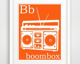 Children's Wall Art / Nursery Decor B is for Boombox print by Finny and Zook
