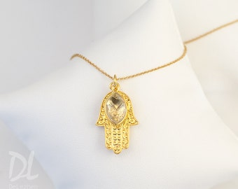 Personalized Christmas Gift for Mom, Gold Hamsa Hand Necklace, Clear Stone Necklace, April Birthstone Necklace, Good Luck Hand Necklace