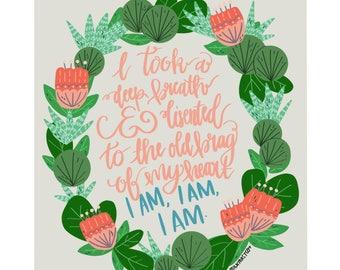 "Sylvia Plath Illustration Quote Wall Art Print--""I am, I am, I am."""