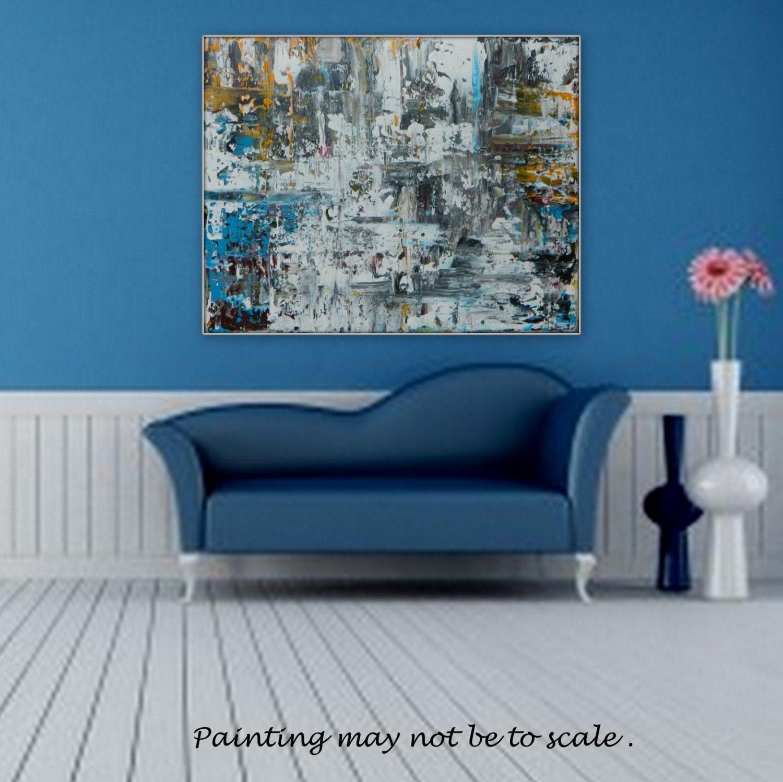 LARGE original acrylic painting Color Black White Blue Yellow custom