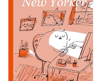 Faux New Yorker Cover- Cat Print- The Dancing Cat- Cat Poster