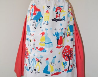 1950s Novelty village farm print white cotton apron / 50s printed village people county fair red blue yellow printed pinny