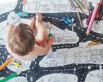 Giant coloring poster, City, Giant coloring,Road,  kids game, car play mat,  coloring, poster, kids, black and white, decor, boys