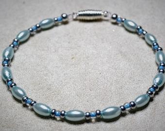 Simple and Elegant Pale Blue Pearl Bracelet