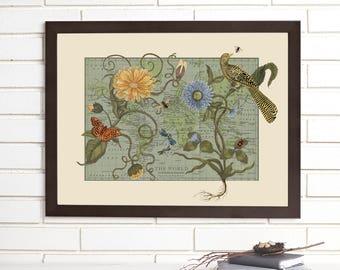 Vintage Map Art, Botanical Delights, Botanical World Map Lithograph