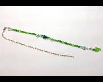 Emerald Green Mint Pearls Crystal Beaded Fan Pull