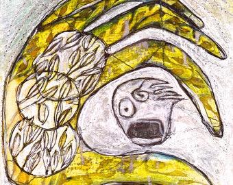 Sentient Ecology - framed original miniature art, gallery frame, original art, Dawn Patel Art, small works, art gifts, painting, mixed media