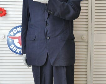 Vintage 40's 50's Men's 2 Piece Suit Set Pants-Jacket Navy Blue Hart Schaffner & Marx Dacron Wool Milliken 1949 Union Label Costume Medium