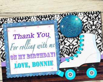 4x6 Roller skating birthday party thank you cards