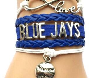 Blue and White Toronto Blue Jays Wrap Bracelet