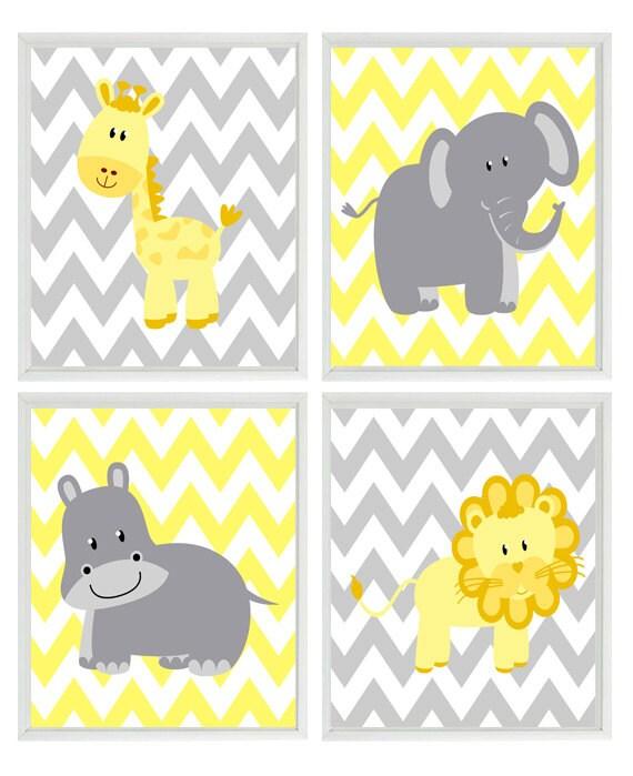 Yellow Gray Nursery Chevron Elephant Giraffe Hippo Lion