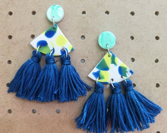 Holly Tassel Clay statement earring