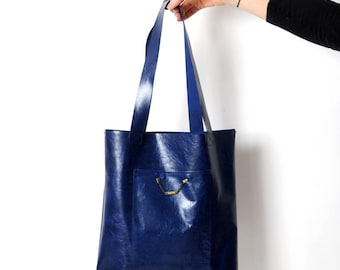Blue leather tote, Royal blue varnished leather tote bag with pockets, Blue leather shopping bag, Womens handbag, Gift for women, MALAM