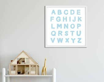 Alphabet Art Printable Blue, Nursery Art Blue Boy, Playroom Wall Art Alphabet, Letters Printable, Toddler Room Artwork Blue Large Wall Art