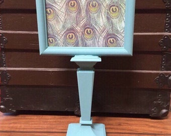 Pedestal picture frame - chalk paint picture frame - pedestal frame - teal photo frames - fancy picture frames - standing photo frame