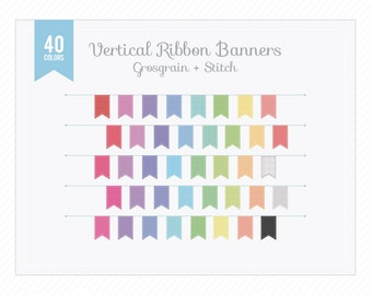 Vertical Ribbon Banners Grosgrain Stitch Clip Art Instant Download PNG for Graphic Design, Web and Blog, Scrapbooking, Cards...