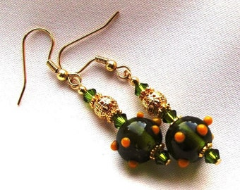 Olive Green and Gold Bumpy Lampwork Glass Bead Earrings with Swarovski Crystals and Pewter Rondelles