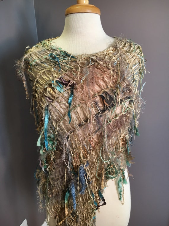 Hand knit funky poncho, chenille, Dumpster Diva 'Modern Camo', Fringed Poncho, shoulder wrap, fringe fashion, tan blue, poncho with fringe