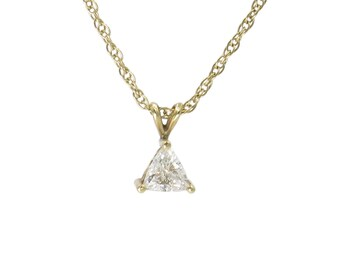 TRIANGLE DIAMOND PENDANT | 14 Karat Yellow Gold