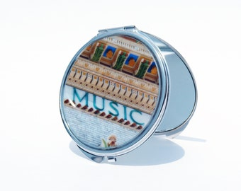 COMPACT MIRROR -  Music Mirror - Makeup Mirror - Pocket Mirror - Custom