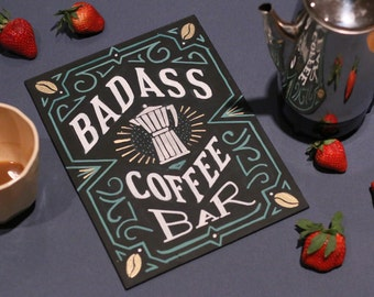 Kitchen chalkboard -coffee bar, espresso, bar, coacktails, menus for parties