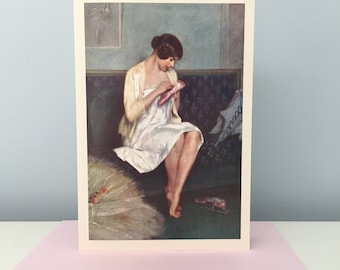 Vintage Ballerina Mending Her shoe Card, Ballet Card, Ballerina Greeting Card, Mother's Day Card, Carrier-Belleuse Card, Dancer Card