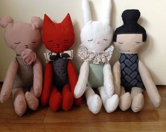 """Plush rag doll """"cat"""" made with cotton fabric for all!"""