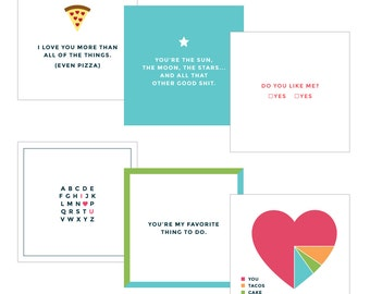 Love Notes. Valentine's Day Cards. Date Night Cards. Love Cards. Set of Six.